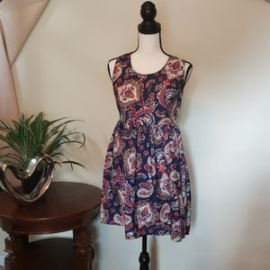 Band of gypsies multi blue, red and orange dress